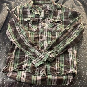 Green, brown, and white plaid printed flannel